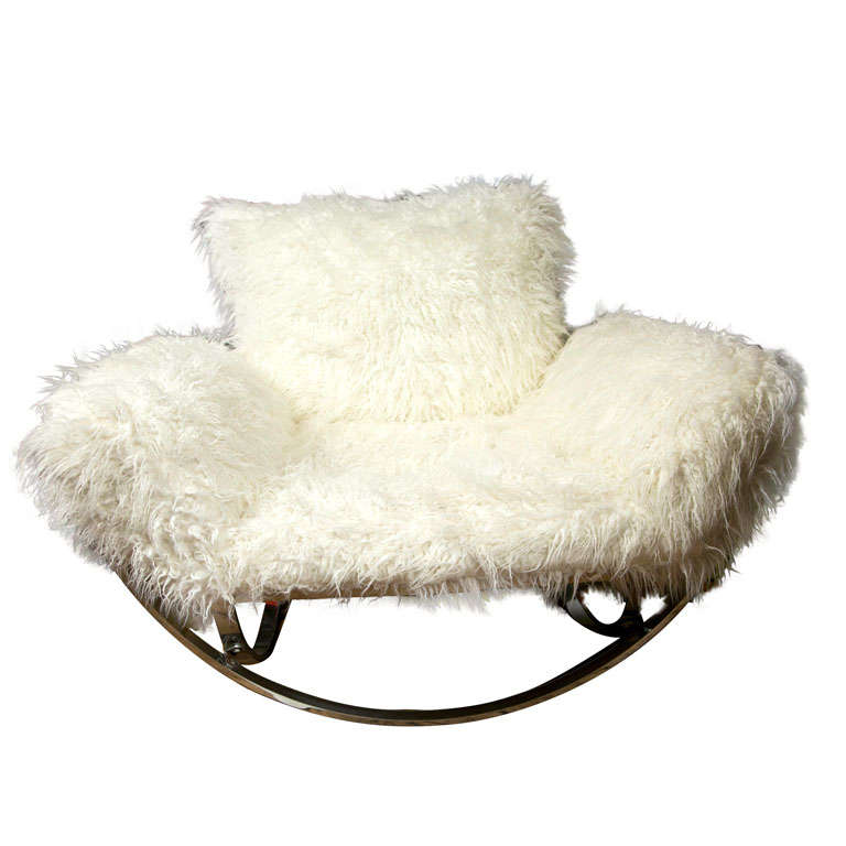 Stendig Faux Mongolian Fur Chrome Lounge Chair At 1stdibs