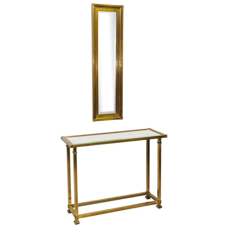 elegant mastercraft petite console and mirror ensemble at 1stdibs. Black Bedroom Furniture Sets. Home Design Ideas