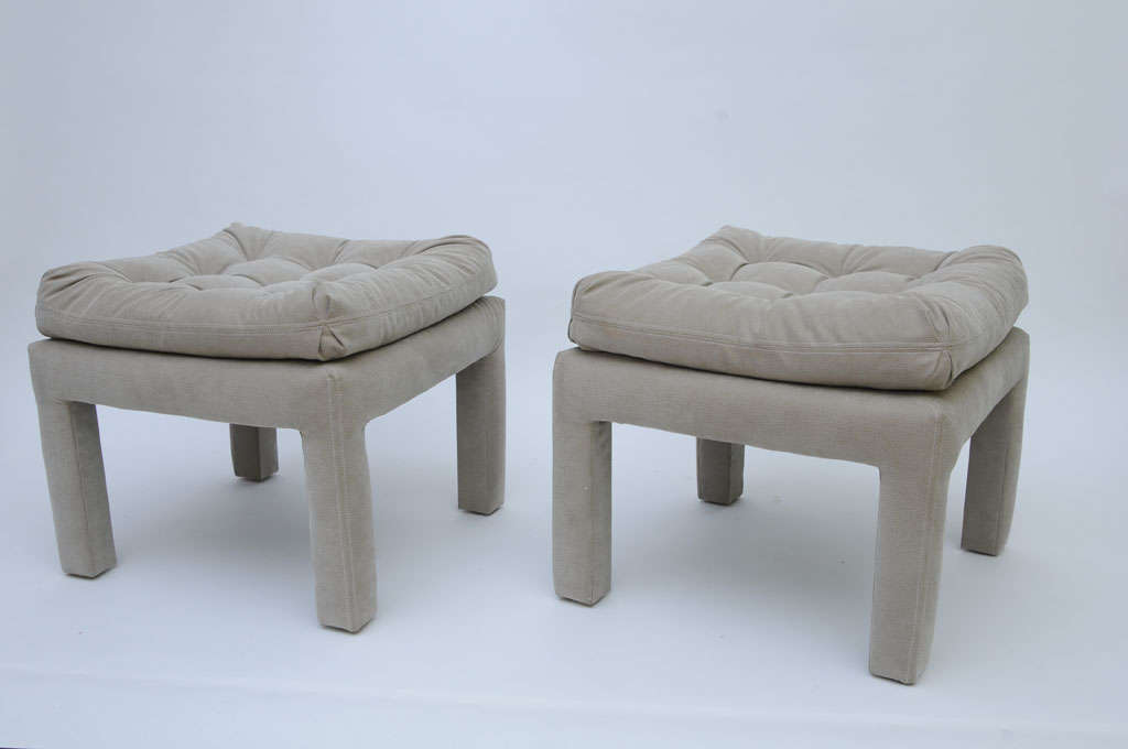PAIR Large Milo Baughman Tufted Parsons Benches 2