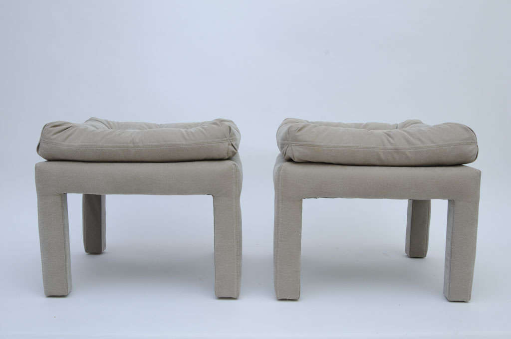 PAIR Large Milo Baughman Tufted Parsons Benches 3