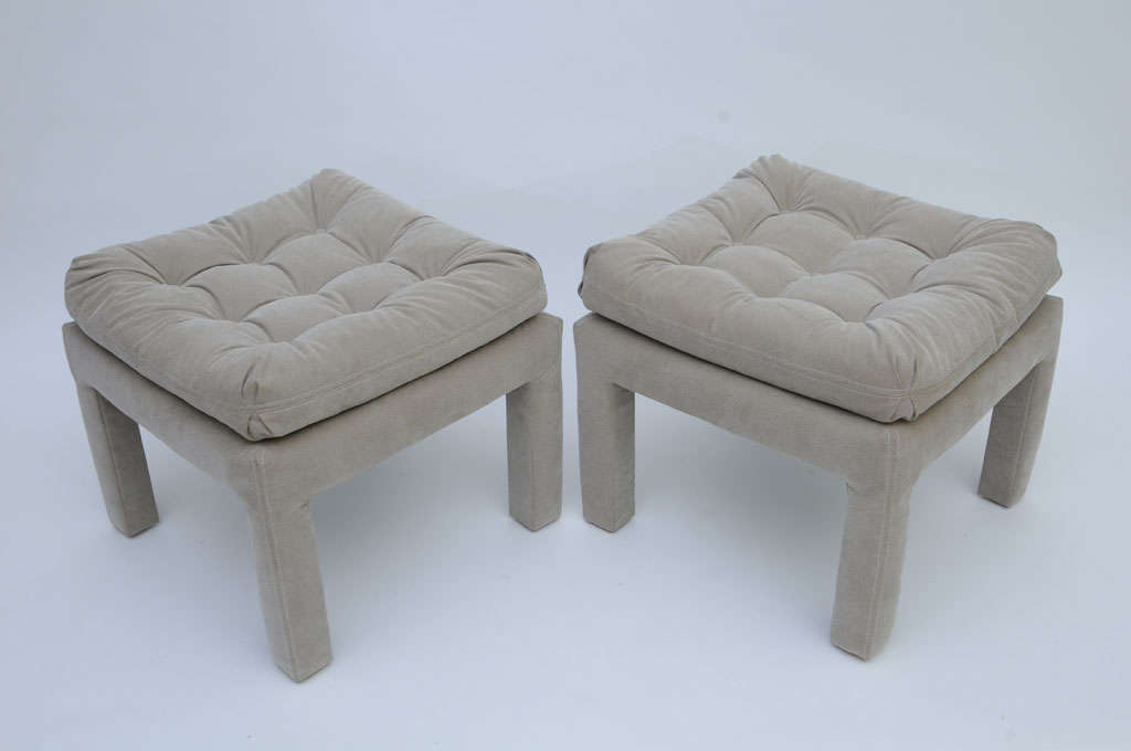 PAIR Large Milo Baughman Tufted Parsons Benches 4