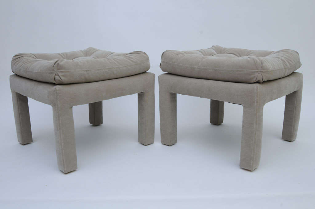PAIR Large Milo Baughman Tufted Parsons Benches 5
