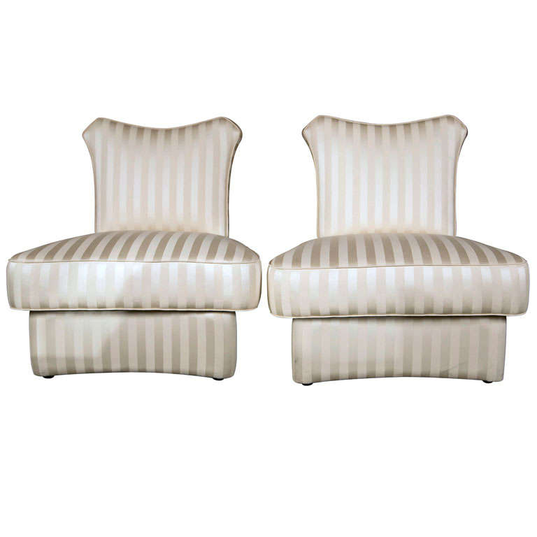 Pair of Slipper Chairs in the style of James Mont. For Sale