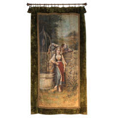 Signed Decorative European Wall Hanging Painting on Canvas, 1900s