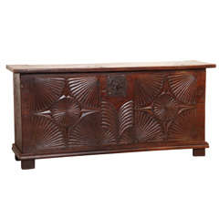 Carved French Oak Trunk with Antique Frontage