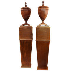 19th Century Pair of English Mahogany Lidded Urns on Pedestals