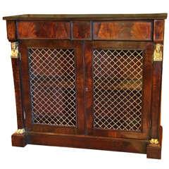 19th c Regency grill door console cabinet