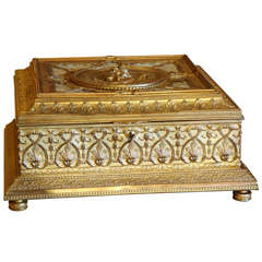 19th Century Bronze Dore and Mother of Pearl Large Box