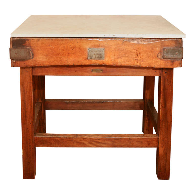 Original Butcher Block With Marble Top At 1stdibs