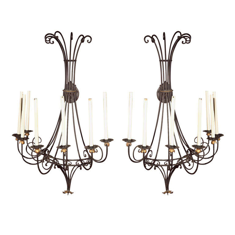Large Pair of Wrought Iron Sconces For Sale