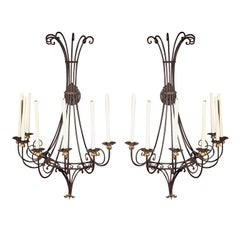 Large Pair of Wrought Iron Sconces