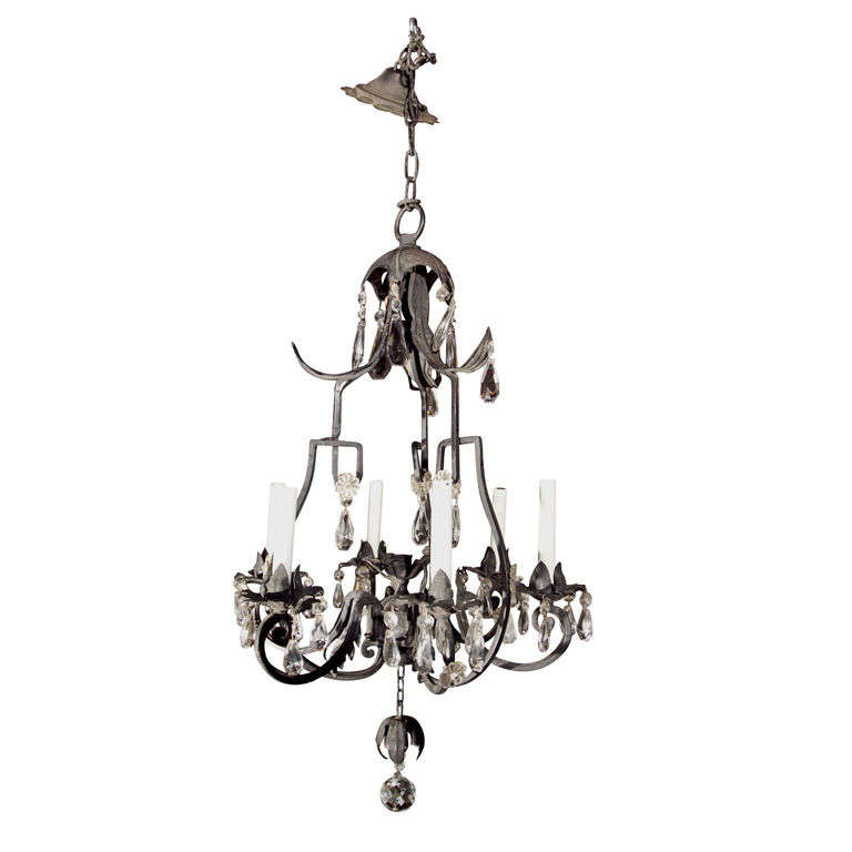 Fanciful Wrought Iron Pagoda Style Chandelier at 1stdibs