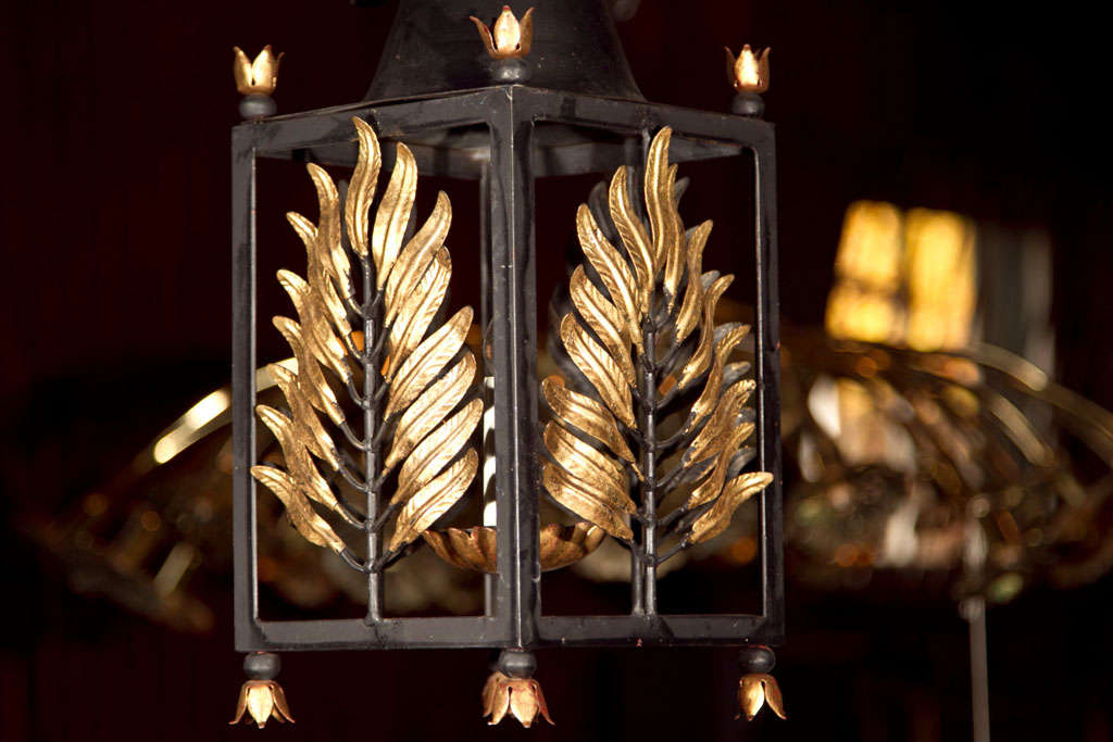 Pair of Wrought Iron Gilt Palm Leaf Lanterns image 4