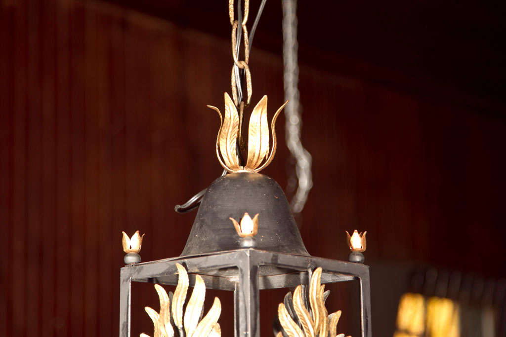 Pair of Wrought Iron Gilt Palm Leaf Lanterns image 5