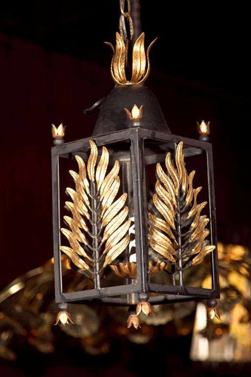 Pair of Wrought Iron Gilt Palm Leaf Lanterns image 2