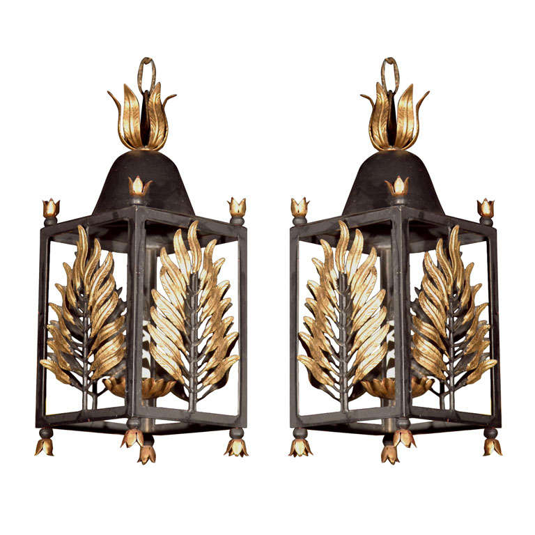 Pair of Wrought Iron Gilt Palm Leaf Lanterns
