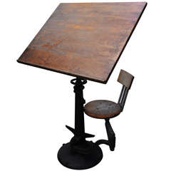 American Drawing Table with Articulated Chair