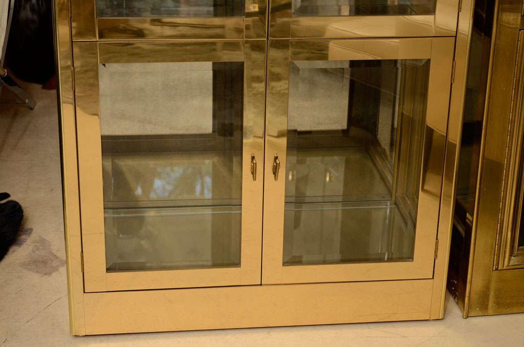 Mid-Century Modern Vitrine Cabinet by Mastercraft, Brass, circa 1960 For Sale