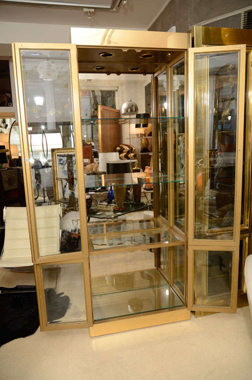 Vitrine Cabinet by Mastercraft, Brass, circa 1960 In Excellent Condition For Sale In New York, NY