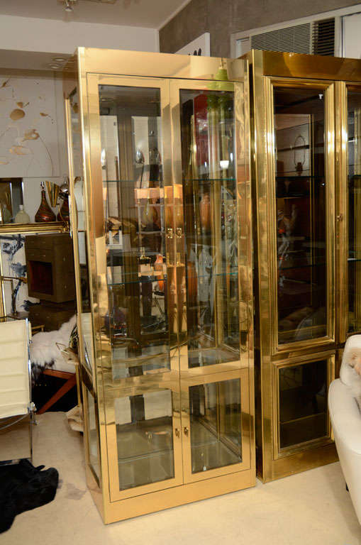 Decorative, mid-century, brass vitrine cabinet by Mastercraft, circa 1960. Very well built. Two doors with built in lighting.