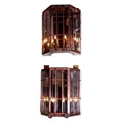 Monumental Pair of Copper Sconces