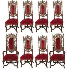 Set of 8 Antique English Charles II Carved Walnut Dining Chairs