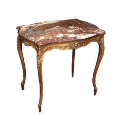 Antique French Louis XV Gilt Wood Table, Original Marble