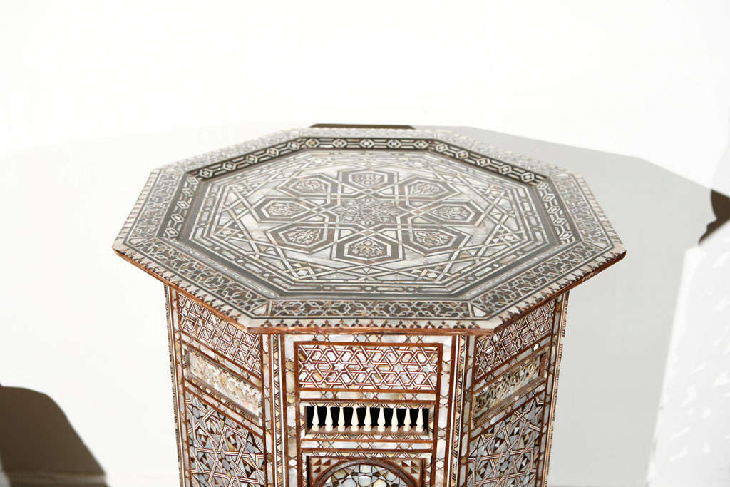 19th C. Antique Syrian Moorish Mother-of-Pearl Inlay Pedestal Tables For Sale 3