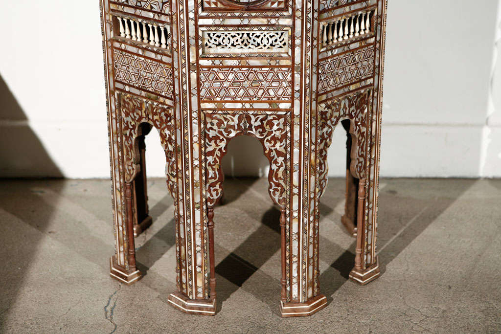 19th Century 19th C. Antique Syrian Moorish Mother-of-Pearl Inlay Pedestal Tables For Sale