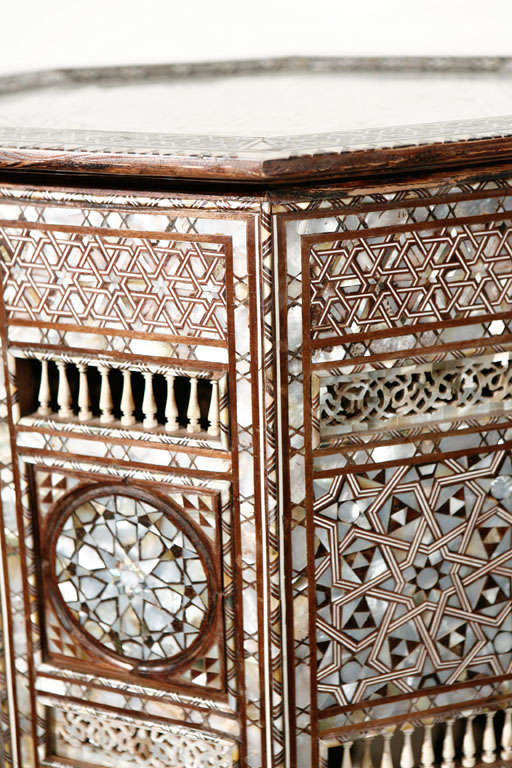 Wood 19th C. Antique Syrian Moorish Mother-of-Pearl Inlay Pedestal Tables For Sale