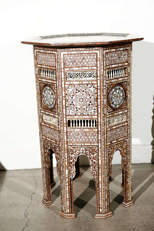 19th C. Antique Syrian Moorish Mother-of-Pearl Inlay Pedestal Tables For Sale 1