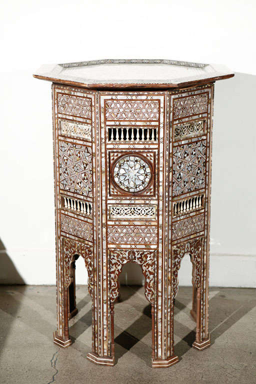 Pair of fine antique 19th century Middle Eastern Moorish mother-of-pearl inlay pedestal tables. Outstanding very rare to find pair of Ottoman Syrian pedestal tables inlaid with mother-of-pearl, abalone, horn, bone and precious wood. Very fine Syrian