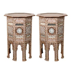 19th C. Antique Syrian Moorish Mother-of-Pearl Inlay Pedestal Tables