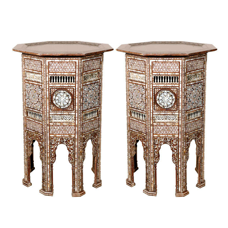 19th C. Antique Syrian Moorish Mother-of-Pearl Inlay Pedestal Tables For Sale