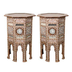 Syrian Antique Mother-of-Pearl Inlay Syrian Pedestal Tables