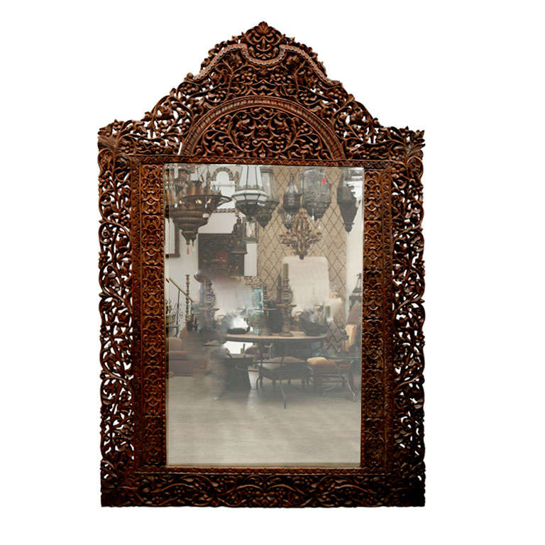 Mirror 9' 8 Giant Hand Carved Anglo Indian