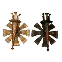 Set of Two Hand-Forged Iron Sconces from Spain