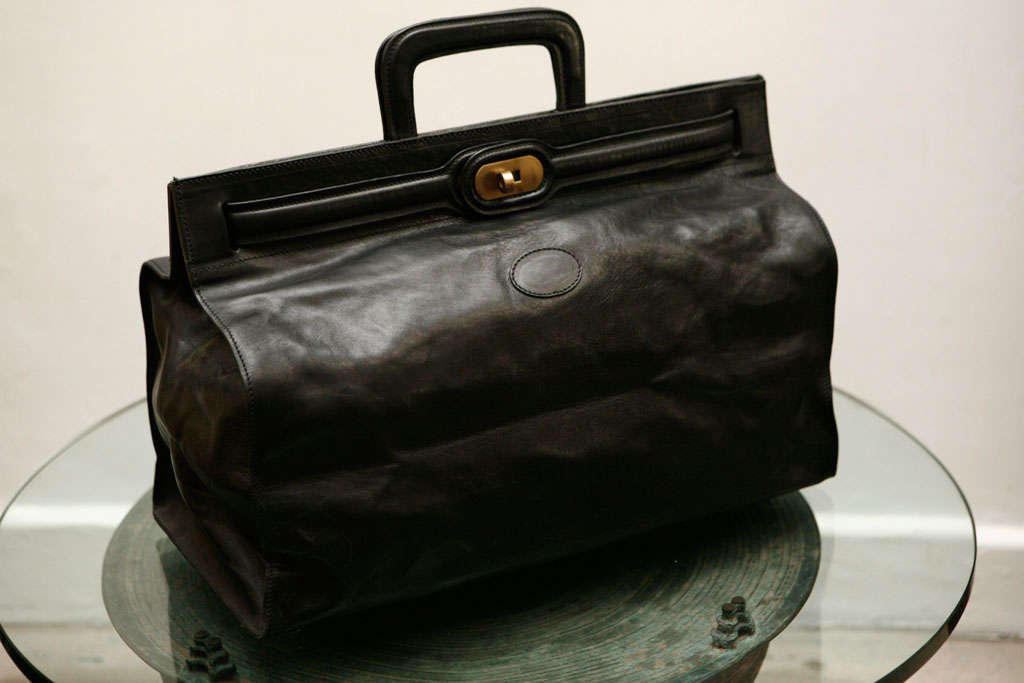 Elegant Classic Doctor Black Leather travel Bag 2