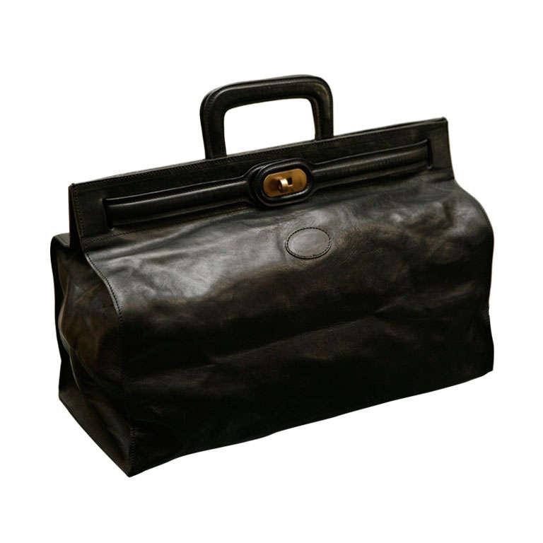 Elegant Classic Doctor Black Leather travel Bag 1
