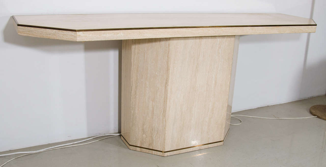 Good Willy Rizzo Style Travertine Console Table With Brass Edging 2