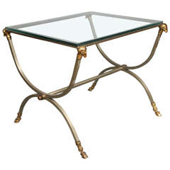 Maison Jansen Style Steel and Gilt Bronze Side Table