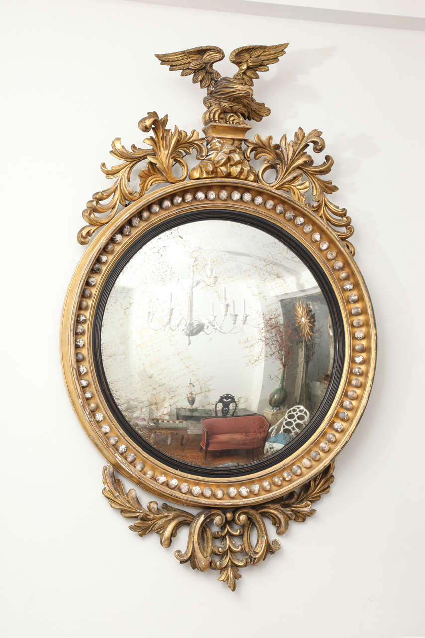 A rare large english regency style convex mirror for sale for Convex mirror for home