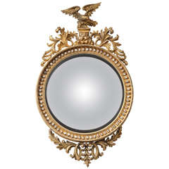 A Rare Large English Regency Style Convex Mirror