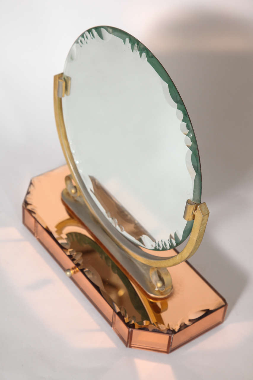 Art deco vanity mirror on champagne bevelled mirrored for Mirror jewelry box