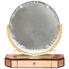 Art Deco Vanity Mirror on Champagne Bevelled Mirrored Jewelry Box