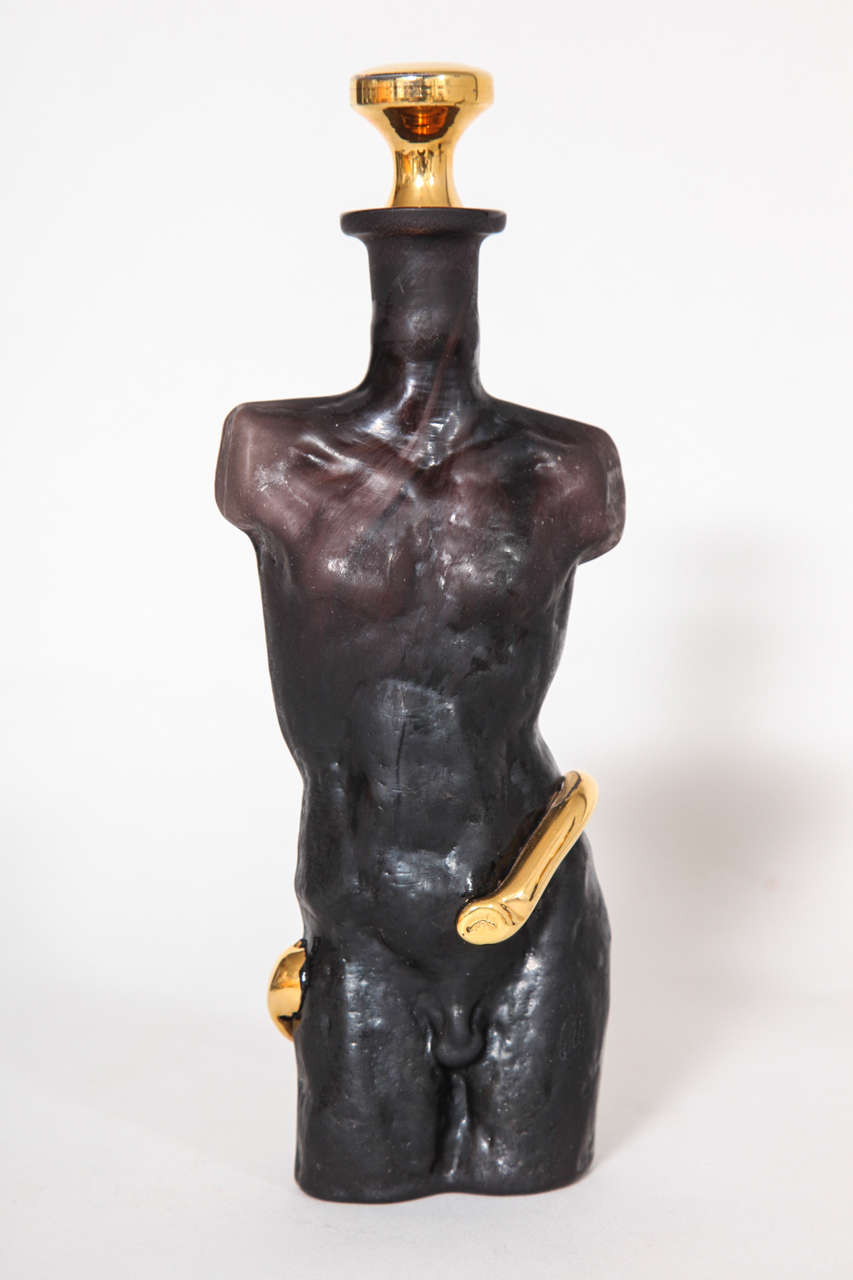 Black Amethyst Glass With Gold Surrealist Figurative