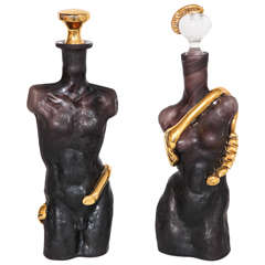Black 'Amethyst' Glass with Gold Surrealist Figurative Cologne Bottles
