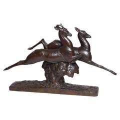 """Andre Vincent Becquerel Bronze Sculpture, """"Brocard et Chevrette Sautant,"""" 1928"""