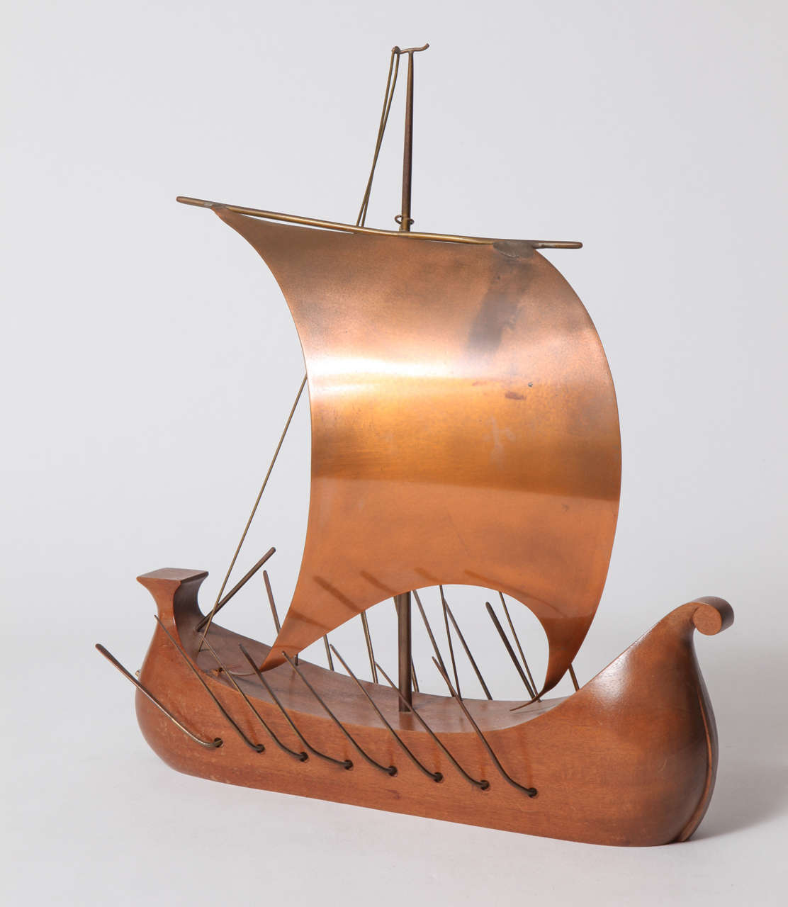 Hagenauer wood brass and copper viking ship for sale at