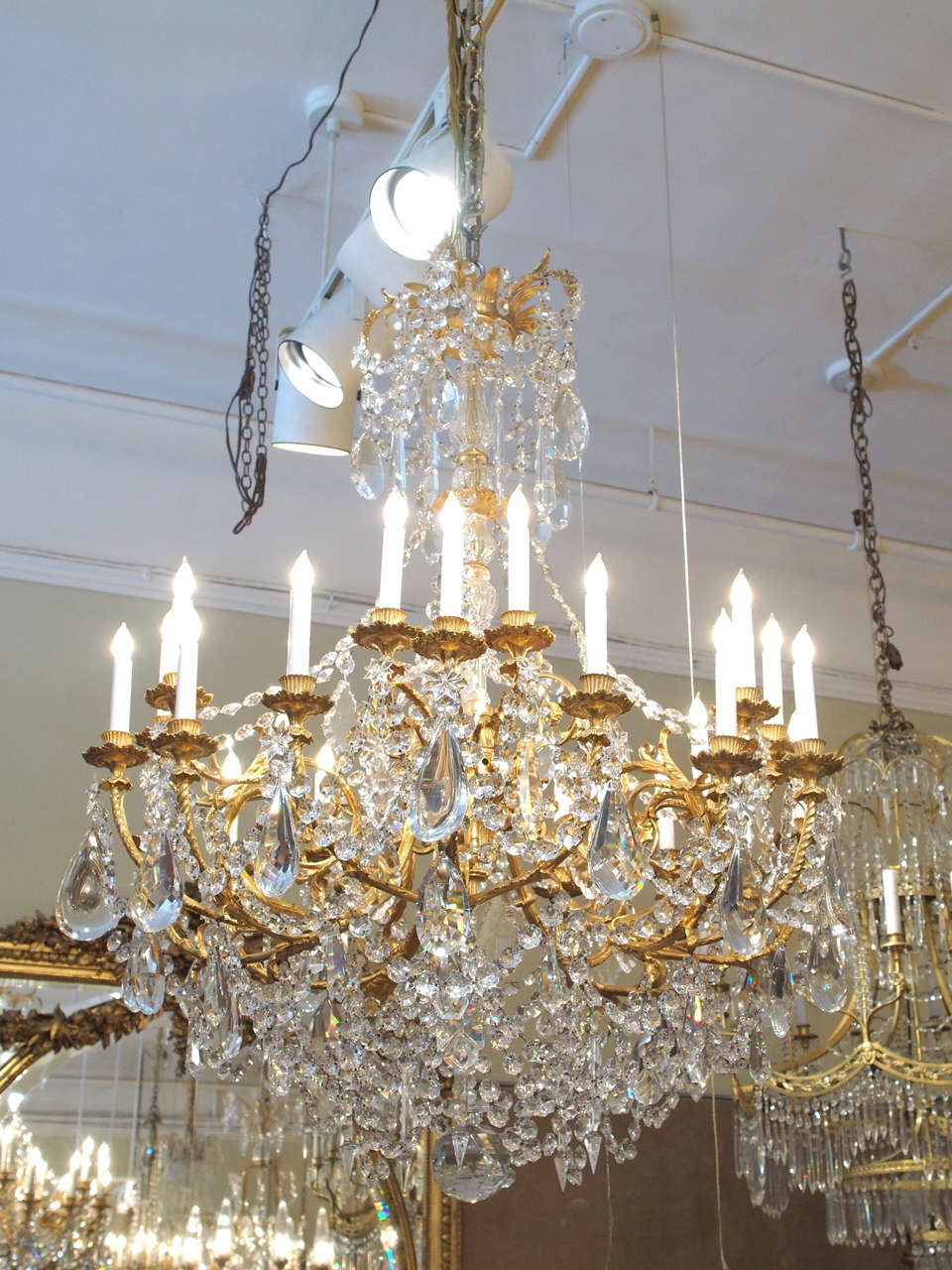 Antique French Baccarat Crystal and Bronze D'ore 24 Light Chandelier circa 1890 2